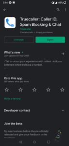 True caller app for blocking spam calls and sms.