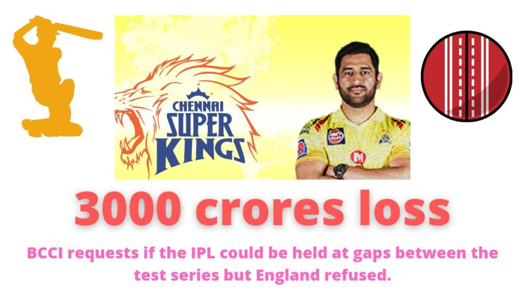 3000 crores loss | BCCI requests if the IPL could be held at gaps between the test series but England refused.