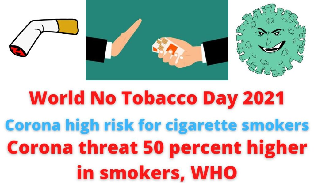 World No Tobacco Day 2021   Corona high risk for cigarette smokers   Corona threat 50 percent higher in smokers, WHO.