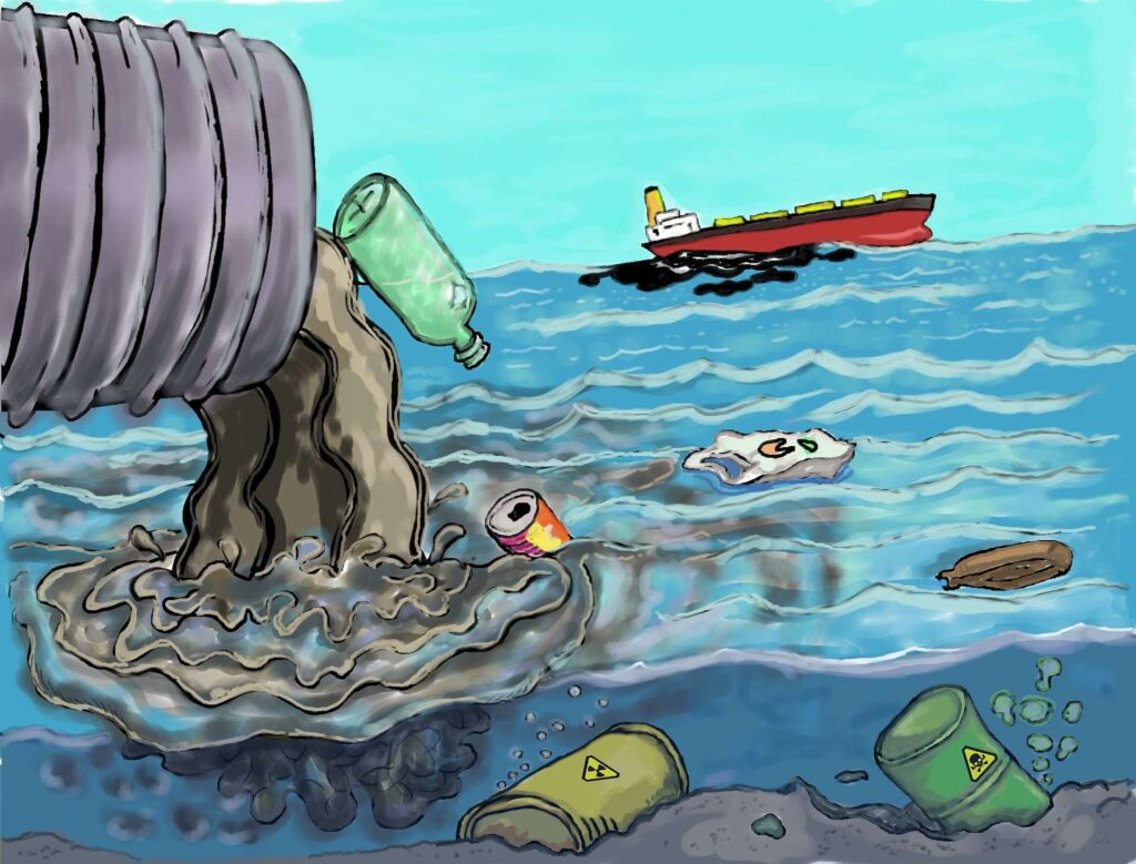 Water pollution.