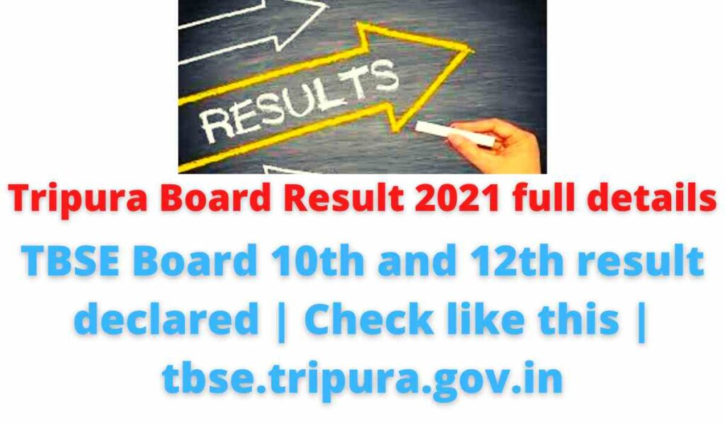 Tripura Board Result 2021 full details: TBSE Board 10th and 12th result declared | Check like this | tbse.tripura.gov.in.