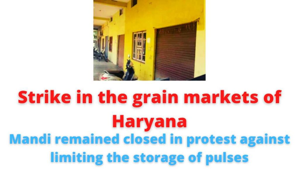Strike in the grain markets of Haryana: Mandi remained closed in protest against limiting the storage of pulses.