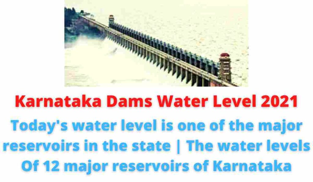 Karnataka Dams Water Level 2021: Today's water level is one of the major reservoirs in the state   The water levels Of 12 major reservoirs of Karnataka.