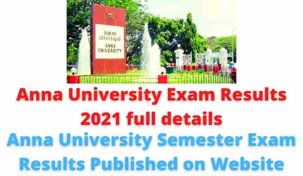 Anna University Semester Exam Results Published on Website.